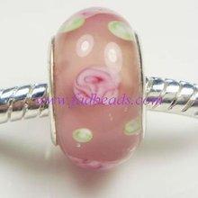 Silver single core murano glass beads