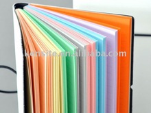 leather notebook with colorful page
