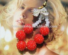 fashion crystal ball charm accessories, elegant charm accessories for mobile phone, cell phone, costume