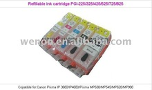 Refillable compatible ink cartridge PGI-225 325 425 525 725 825 CLI-226 326 426 526 726 826 with auto reset chips for Canon