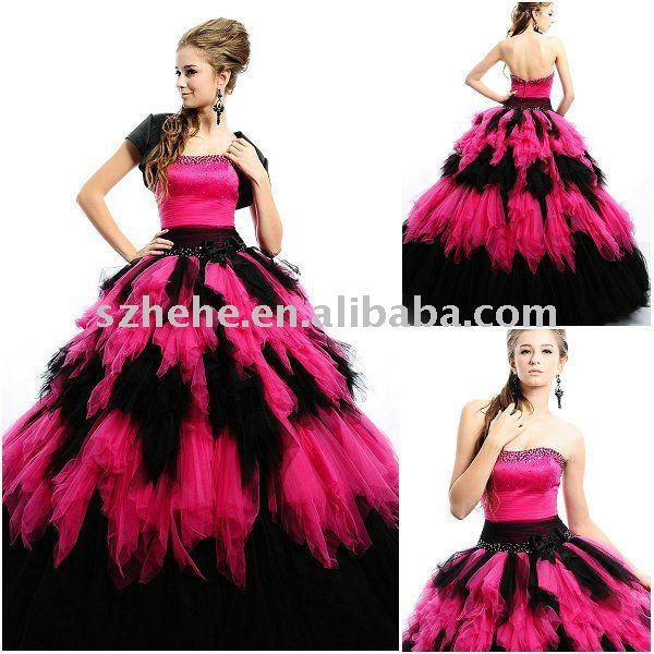 Junio Mei Q0035 balón vestido de negro y color de rosa caliente vestido de quinceanera