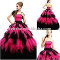 Junho mei q0035 bola vestido preto e rosa quente quinceanera vestido