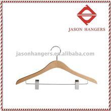 Flat wooden hanger for suit F6691 , natural color finish, a classic ladies suit hanger