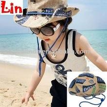 blue printing straw hessian children beach hat