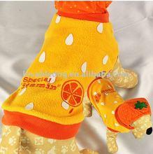 pet clothes orange Plush Hooded Coat