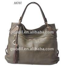 Metal zip pocket large bags 2012 newest hot sell genuine leather handbag