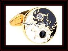 fashion elegant gold plating yin and yang enamel diamond round cufflinks