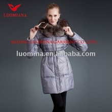2012 Fashion Manufacture price Mature Women`s Real Fur-Trimming Down Padded Jacket