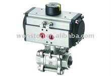 3 Pieces pneumatic stainless steel ball valve