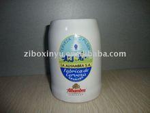 Big ceramic beer mug with print for promotion