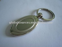 Promotion Blank Drop KeyChain Metal Key Ring with recess area