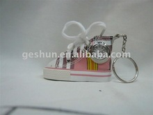 2011 summer gift keychain with alloy clock in canvas shoes
