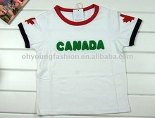 canada flag interlock 160 gsm children t-shirt with canada embroidery cute t-shirt