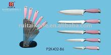 4PCS color kitchen knife set in acrylic knife block