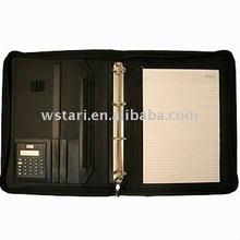Custom leather portfolio,A4 zipper leather portfolio,leather portfolio with handle