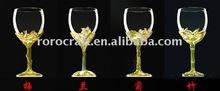 craft pewter decoration enamel color wine glass set
