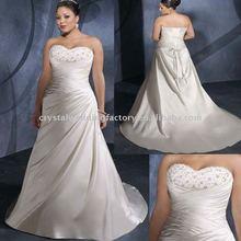 Hot sale strapless floor length chapel train custom-made plus size wedding dress CWFaw1143