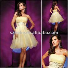 2012 short beaded organza yellow cocktail dress code
