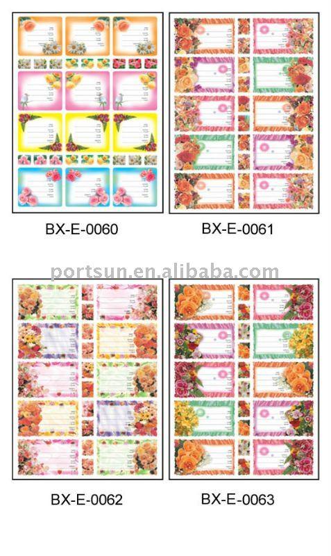 2012 children's stationery of school label
