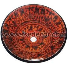 traditional painting Bathroom Glass basin(FSE-GS-N216)