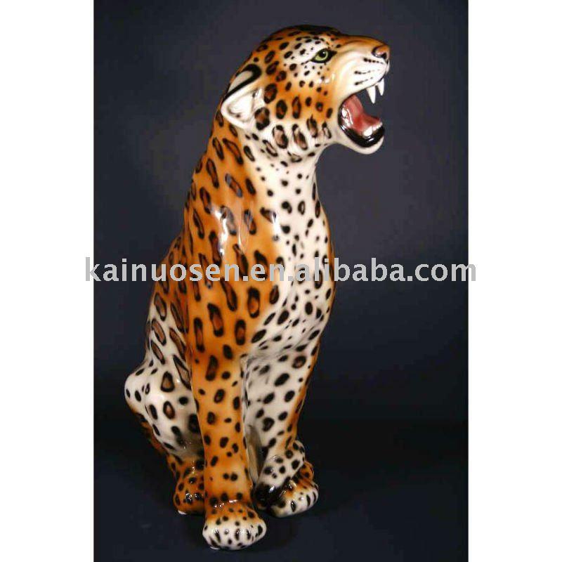 Vivace leopardo ceramica figurine, decorazione della casa