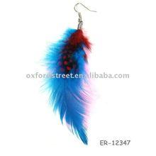 2011 fashion charm long feather earring blue