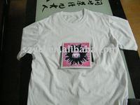 glowing unisex EL tee Shirt 100% cotton in white