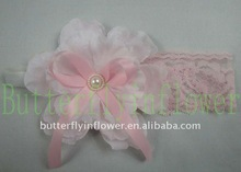 Girl Lace Flower Headbands/ Headwrap with ribbon bow 16 colors no moq
