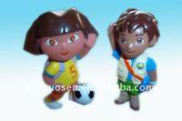 2 School Dora & Soccer Ball pvc figurine