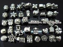 Tibetan Silver Plate Wholesales Bulk Lots Mixed Beads Fit European Bracelets amix1, Sold per packet of 500 Gram