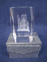 Crystal cube with 3d laser logo Twin Towers New York MH-F0030