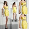 Hot sale 2012 Sweetheart neckline yellow ruffle beading cheap sexy cocktail dress