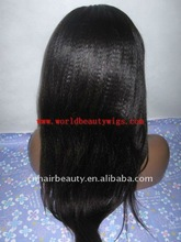 quality Indian hair Kindy straight Lady lace front wig,accept paypal