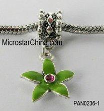European style dangle with leaf enamel screw big hole beads