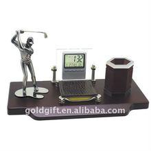 golf business desktop set with digital clock