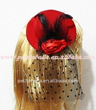 Vermelho clip chapéu com penas pretas e vermelhas rosa e preto polka dots net h121