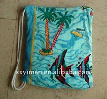 100% cotton velour print towel backpack single string