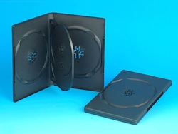 14MM DVD CASE FOR 4 DVDs WITH INSERT TRAY, BLACK(YD-037-B)