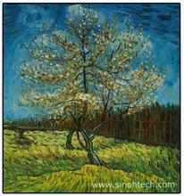 "Repro 20"" x 24"" Handmade Oil Painting Van Gogh Pink Peach Tree"