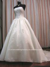 Real appliqued organza A-line custom-made chapel train wedding dress CWFaw1868