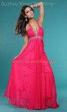 2011 Hot Pink Beaded Halter Summer Top Chiffon Party & Evening Dress DB2729