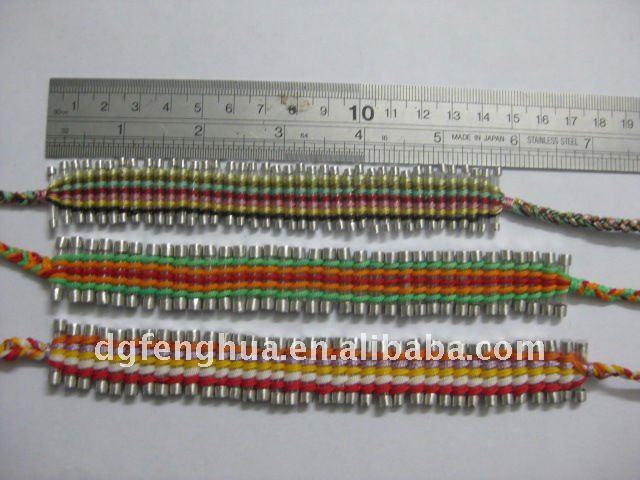 Hechos a mano de punto pulseras de cuerda de algodón con palabras