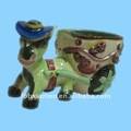 cerâmica bonito burro com carrinho de flores de vaso estatueta