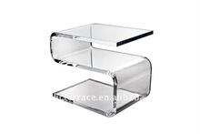 S shape Acrylic Susie Coffee Table with shelf