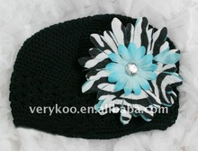 Baby Crochet Kufi Hats with a Zebra Daisy Flower (FCK-103470380-I)