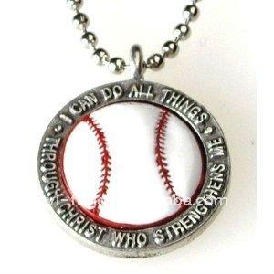 """Colorido pingente de colar de beisebol """" eu posso fazer todas as coisas em cristo """""""