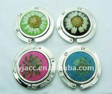 Hot sell premium gift item flower painting foldable bag purse hanger --professiona alloy manufacturer