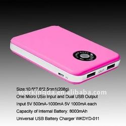 8000mAh Portable Dual USB Output Backup Energy with Micro USB Input