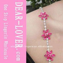 Three Pink Flowers jewelled bra straps