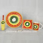 Christmas design porcelain dessert plate and coffee mug set